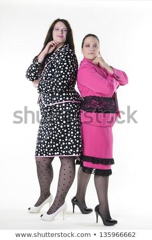 áll · nő · visel · latex · ruházat · nők - stock fotó © phbcz