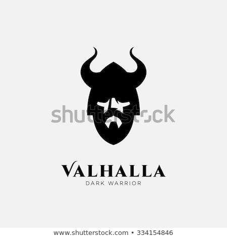 Horned head Warrior Mascot. Black Horned Warrior. Stock photo © HunterX