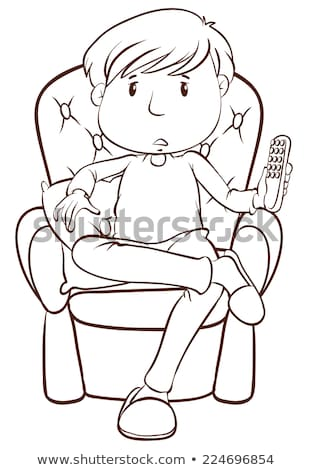A plain sketch of a lazy man holding a remote control Stock photo © bluering