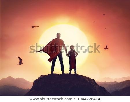 Foto stock: Super · pai · ilustração · sorrir · criança · pai