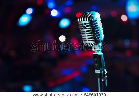 Jazz microfone preto e branco teclas de piano conjunto grunge Foto stock © Bigalbaloo