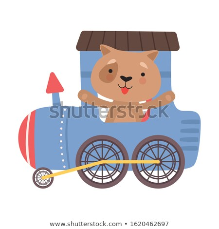 Wild animal riding on red wagon Stock photo © bluering
