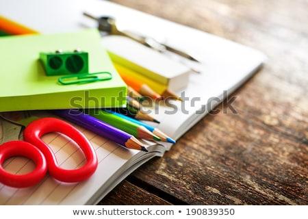öreg tábla ceruzák radír fa divat Stock fotó © tab62