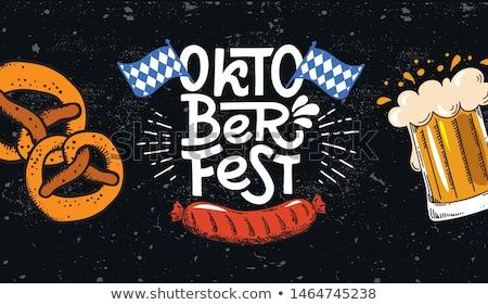 oktoberfest · anunciante · beber · alcohol · dibujo · celebración - foto stock © anna_leni