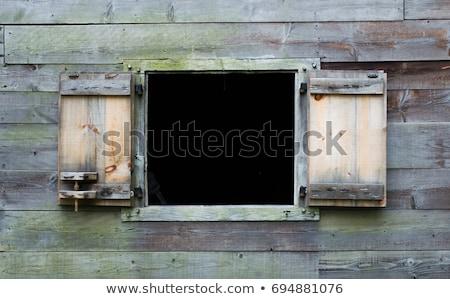 Bağbozumu pencere rustik sedir beyaz boya Stok fotoğraf © tab62