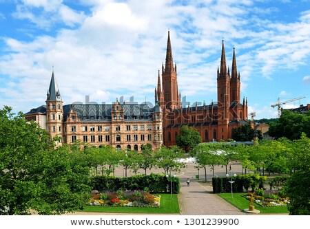 Alemanha principal protestante igreja mercado tijolo Foto stock © meinzahn