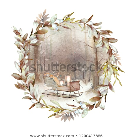 Snowy frosted natural pine Christmas wreath Stock photo © ozgur