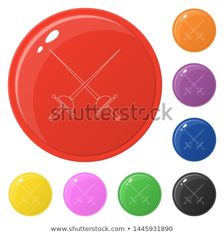 Fencing icon on round badge Stock photo © bluering