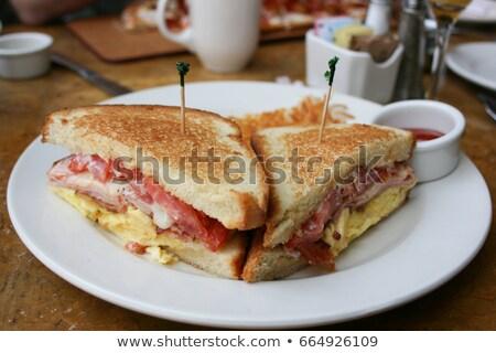 morning breakfast scrambled eggs bacon mayonnaise stock photo © panaceadoll