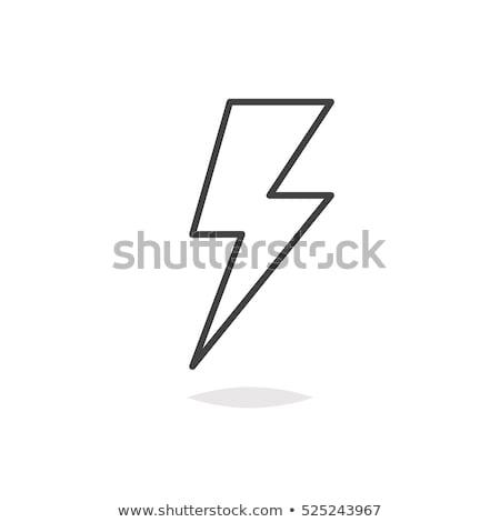 Fulmini icona bianco computer design tempesta Foto d'archivio © smoki