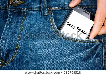 Foto stock: Jeans · bolso · menina · rua · branco