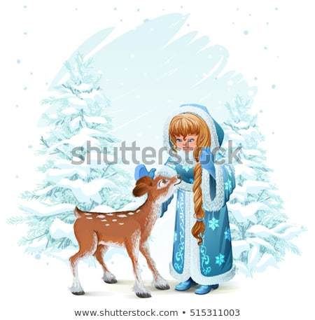 Snow Maiden in blue fur coat and fawn among pine trees in winter forest Stock photo © orensila