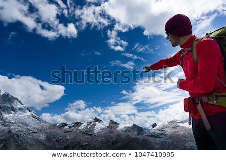 Górskich przewodnik ilustracja wygaśnięcia spaceru mężczyzna Zdjęcia stock © adrenalina