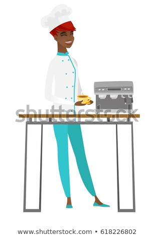 african american chef cook holding cup of coffee stock photo © rastudio