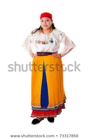 nő · gyönyörű · dél-amerika · folklór · ruházat · Ecuador - stock fotó © phakimata