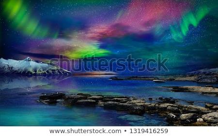 norte · luzes · aurora · Islândia · água · montanha - foto stock © solarseven