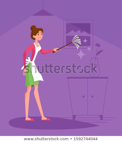 Ama de casa violeta colorido foto sonriendo de moda Foto stock © Fisher