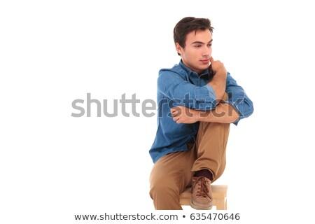 Vista lateral casual homem joelho Foto stock © feedough