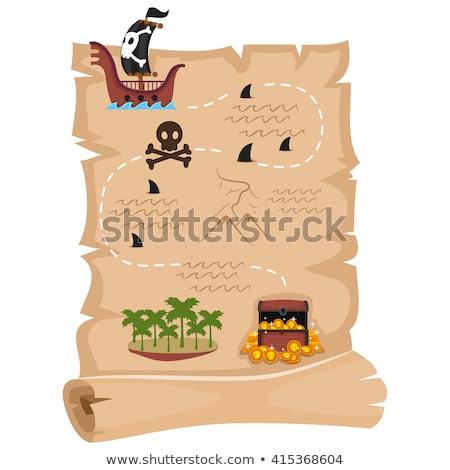 Gyerekek pergamen kincs vadászat illusztráció lány Stock fotó © adrenalina