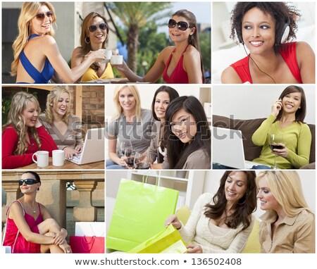 mulheres · potável · café · dois · mulheres · jovens · amigos - foto stock © nikodzhi