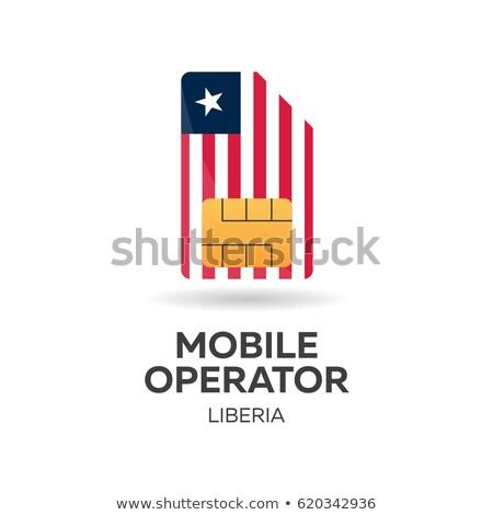 Liberia mobile operator. SIM card with flag. Vector illustration. Stock photo © Leo_Edition