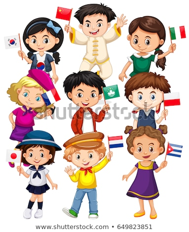 Boy and girl holding Macau flag Stock photo © bluering