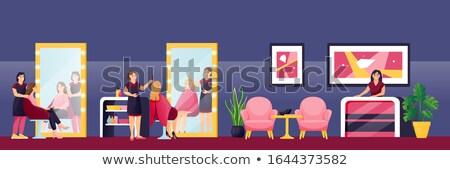 Vektor rajz stílus illusztráció fodrász izolált Stock fotó © curiosity
