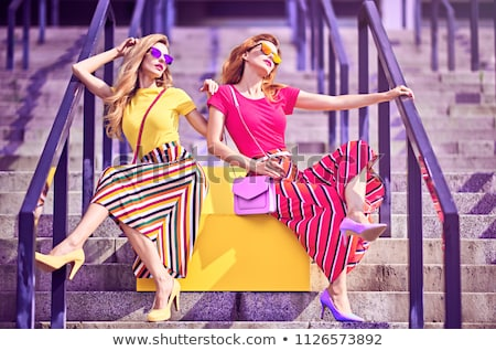 Twins female models posing outdoor. Stock photo © NeonShot