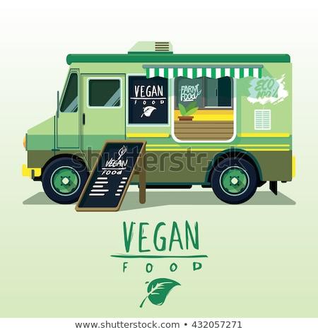 доставки Экологически чистые продукты питания грузовика изометрический баннер природы Сток-фото © Genestro