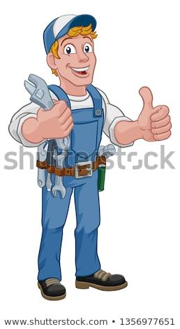 mekanik · tesisatçı · İngiliz · anahtarı · karikatür · el · ulağı - stok fotoğraf © krisdog
