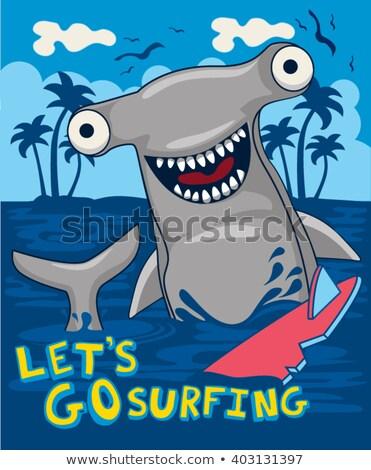 Hai glückliches Gesicht Illustration Lächeln glücklich Natur Stock foto © bluering