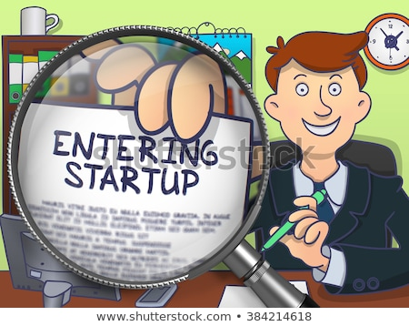 entering startup through magnifier doodle concept stock photo © tashatuvango