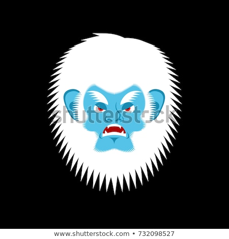 Yeti angry emoji. Bigfoot evil emotion face. Abominable snowman  Stock photo © popaukropa