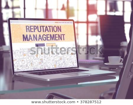 Laptop képernyő közelkép leszállás oldal modern Stock fotó © tashatuvango