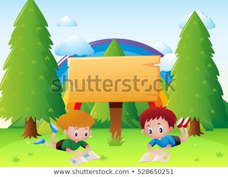 keret · sablon · gyerekek · olvas · könyvek · illusztráció - stock fotó © bluering