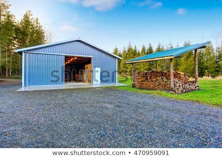 ファーム · ゲート · 金属 · フィールド · 大麦 · 空 - ストックフォト © stevanovicigor