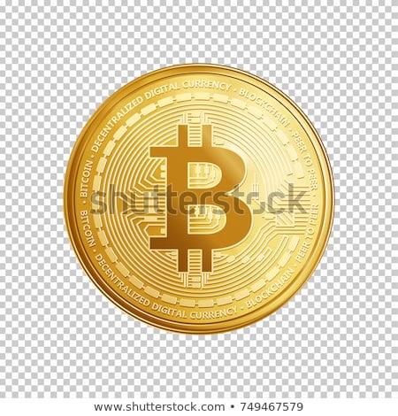 Bitcoin symbool virtueel geld geïsoleerd witte Stockfoto © orensila