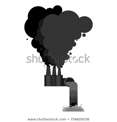 Black smoke pipes of factory. Ecological catastrophy. Industrial Stock photo © MaryValery