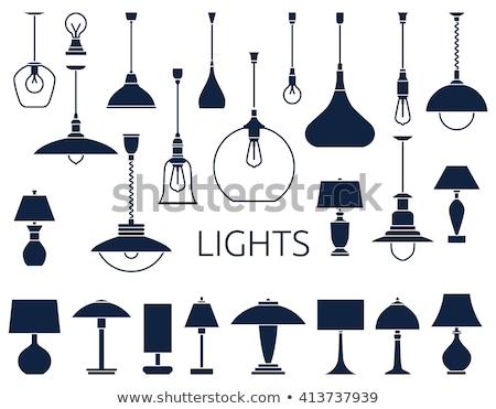 Szett antik világítás sziluettek fekete lámpák Stock fotó © ElaK