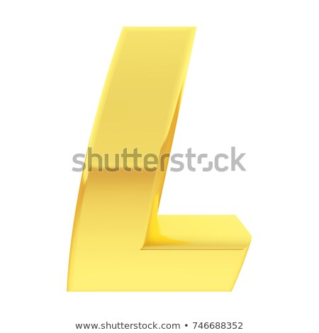 gold alphabet symbol letter l with gradient reflections isolated on white stock photo © oneo