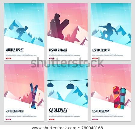 téli · sport · sí · hódeszka · hegy · tájkép · snowbordos - stock fotó © leo_edition