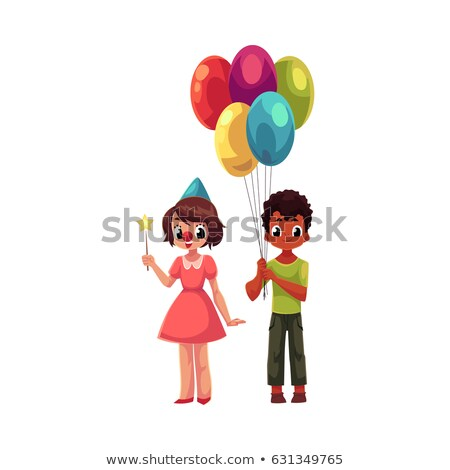 fille · regarder · rouge · ballons · sweet · enfant - photo stock © is2