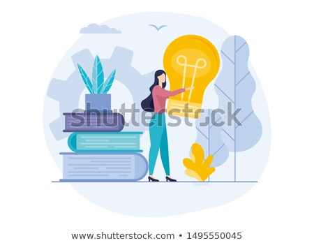 Girl with book and edison lamp Stock photo © bezikus