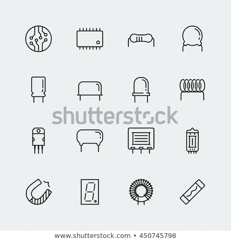Electronic and radio components from thin line, vector illustration. Stock photo © kup1984