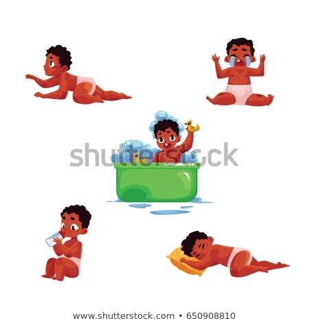 pleurer · bébé · eps · enfants · visage · enfant - photo stock © rastudio