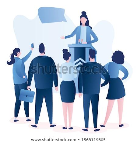 europeu · empresário · discurso · conferência · corporativo · pessoas · de · negócios - foto stock © studioworkstock