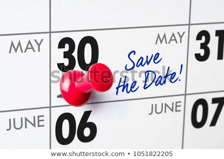 Foto stock: Pared · calendario · rojo · pin · 30 · cumpleanos
