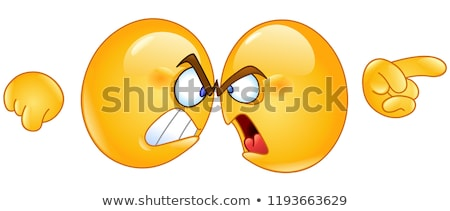 angry yellow cartoon emoji face character with aggressive expressions pointing stock photo © hittoon