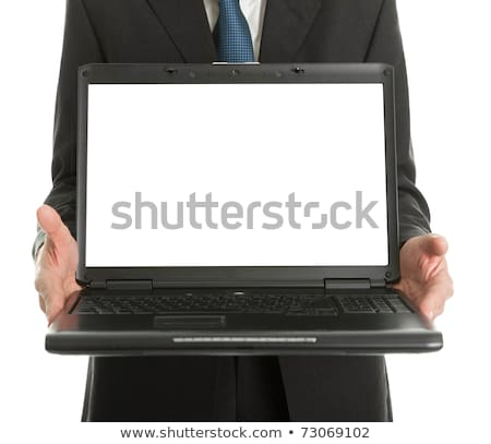 schermo · laptop · mani · imprenditore · business - foto d'archivio © dolgachov