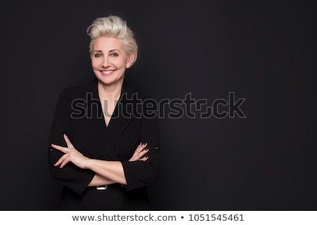 женщину черный портрет долго светлые волосы Сток-фото © filipw